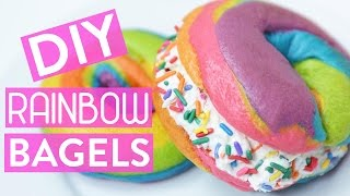 DIY RAINBOW BAGELS