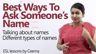 Best ways to ask someone's name - Learn English expressions with 'NAME' - English Lesson